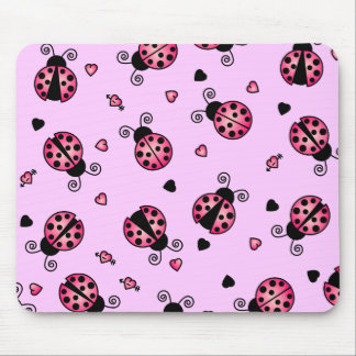 Love Bugs Pink Ladybugs Mouse Pad
