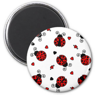 Love Bugs Red Ladybugs 2 Inch Round Magnet