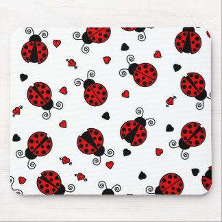 Love Bugs Red Ladybugs Mouse Pad