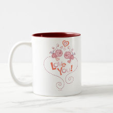 Love Bugs! Valentine's Mug - Two cute little pink bumble bees flying to each other to give hearts. The mug reads 'Love You' A perfect gift for Valentine's Day or any day you want to say I love You.