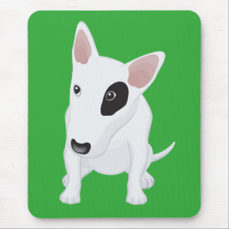Love Bull Terrier Puppy Dog Green Mousepad