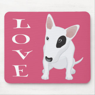 Love Bull Terrier Puppy Dog Pink Mousepad