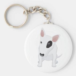Love Bull Terrier Puppy Dog White Keychain