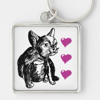 Love Bulldog Dog Premium Square Key Ring