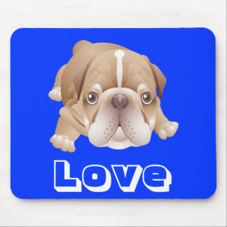 Love Bulldog Puppy Dog Graphic Blue Mousepad