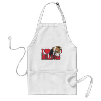 Love Bulldogs Adult Apron