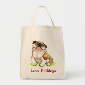 Love Bulldogs Happy Cartoon Bulldog Grocery Tote