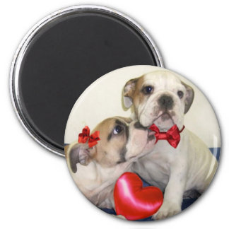 Love Bulldogs round magnet