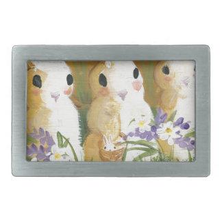 love bunnies rectangular belt buckle