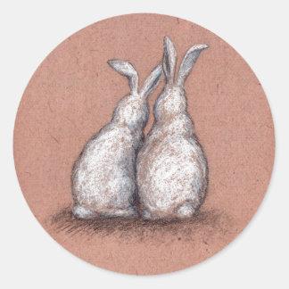 Love Bunnies Sticker Vintage Maroon