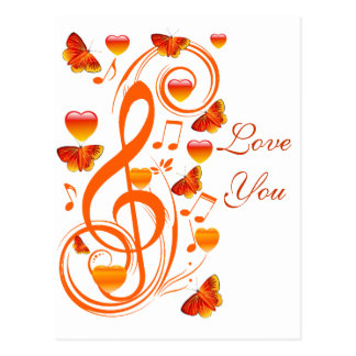 Love & Butterflies,Music notes_ Postcard