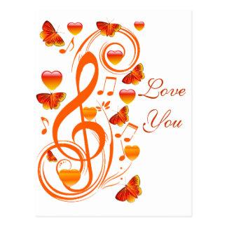 Love & Butterflies,Music notes_ Postcard
