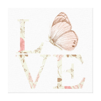 Love Butterfly Floral Canvas Print