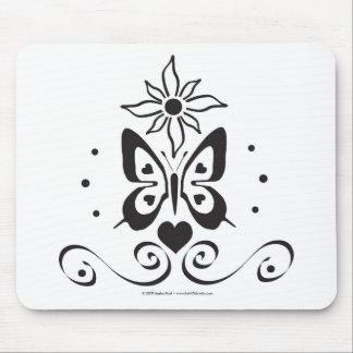 Love Butterfly in the Sun (B & W) Mouse Pad