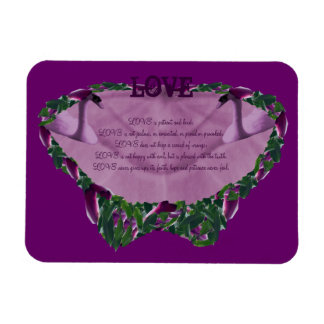 Love Butterfly Shape with Purple Magnolias Border Magnets