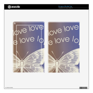 Love Butterfly Decal For Kindle Fire