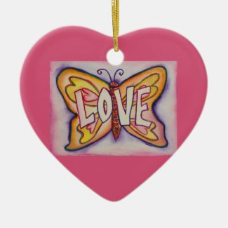 Love Butterfly Word Art Gift Holiday Ornament
