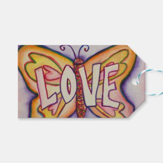 Love Butterfly Word Custom Card Gift Tags