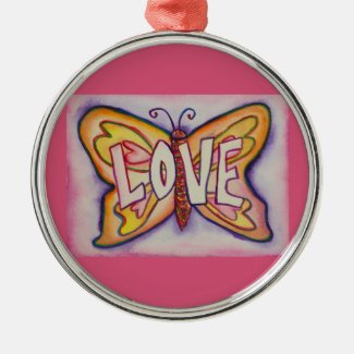 Love Butterfly Word Gift Holiday Ornament