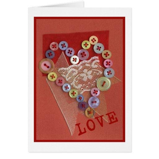 LOVE Button Heart Greeting Card