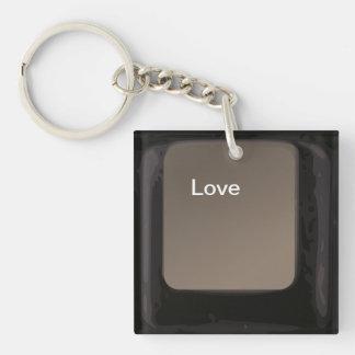 Love Button / Key Square Acrylic Key Chains