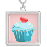 Love By Cupcake Square Pendant Necklace