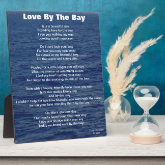 Love By The Bay Poem Blue Sea Water Display Plaques