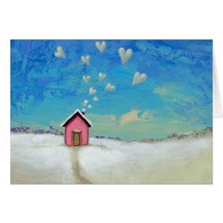 Love cabin cottage sweet fun art Staying Warm Card