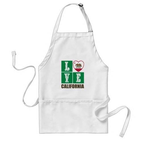 Love California Republic State Flag Heart Grizzly Bear Pride Adult Apron