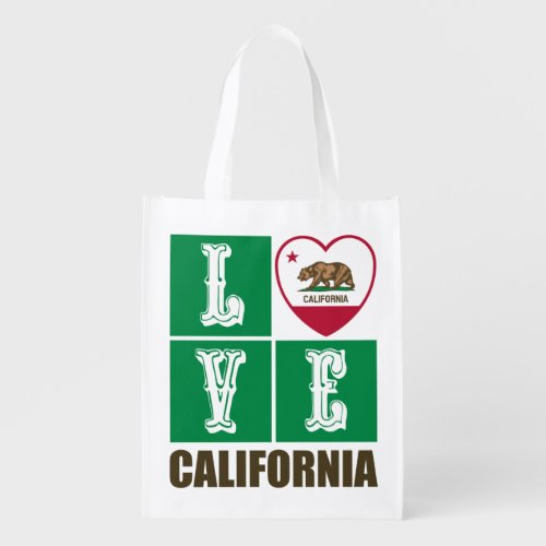 Love California Republic State Flag Heart Grizzly Bear Reusable Grocery Bag