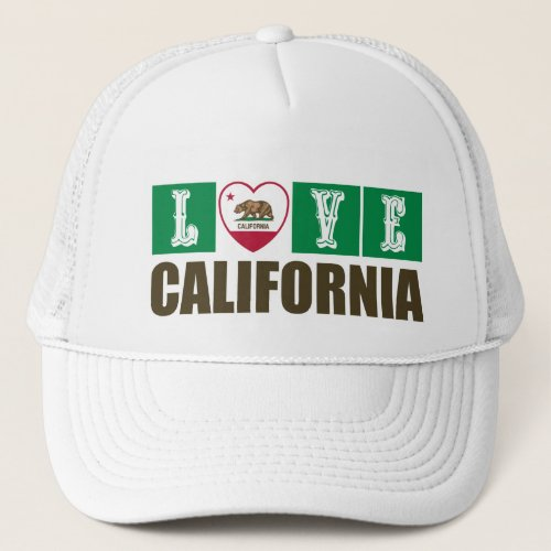Love California Republic State Flag Heart Grizzly Bear Pride Trucker Hat