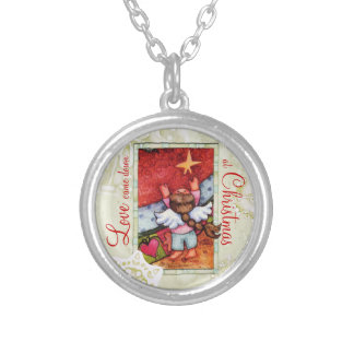 Love came down at Christmas Round Pendant Necklace
