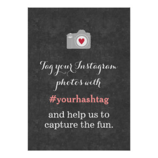 Love Camera Chalkboard Instagram Hashtag Sign Poster
