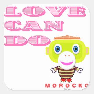 Love Can Do-Cute Monkey-Morocko Square Sticker