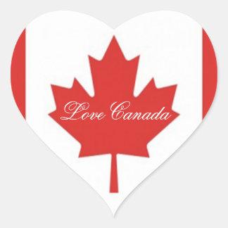 Love Canada-Canadian Maple Leaf Flag Heart Sticker
