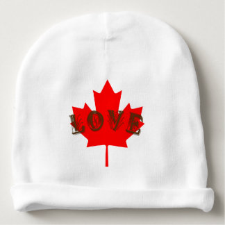 Love Canada Day red maple leaf baby hat