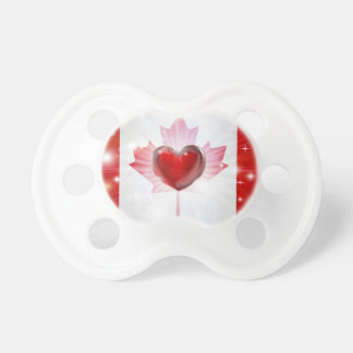 Love Canada flag heart background Baby Pacifier