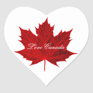 Love Canada-Red Canadian Maple Leaf Heart Sticker