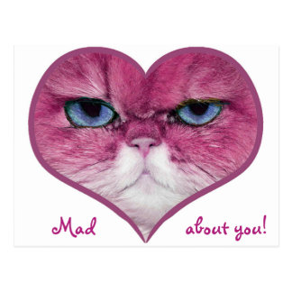 LOVE CARD PINK CAT HEART MAD ABOUT YOU