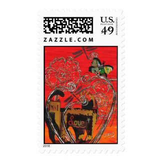 Love Cat and Butterfly Postage
