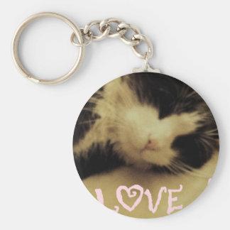 Love Cat Basic Round Button Keychain