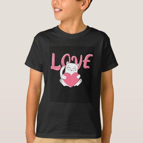 Love Cat Holds Heart T_Shirt