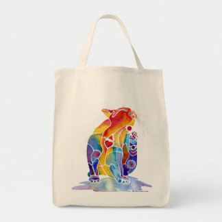 Love Cat in Rainbow Colors Grocery Tote Bag