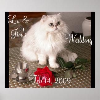 Love Cat Wedding Valentine Poster- Customizable Print