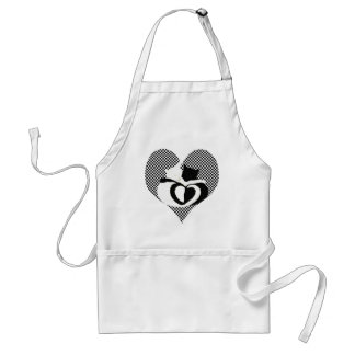 Love Cats - black & white tails, entwined hearts Aprons