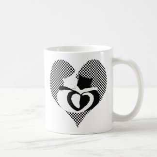 Love Cats - black & white tails, entwined hearts Coffee Mug