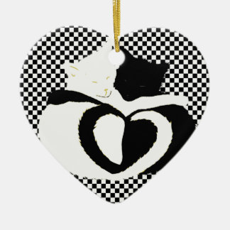 Love Cats - black & white tails, entwined hearts Ornaments