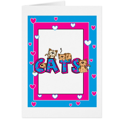 Love Cats - Bright Blue and Fuschi Greeting Card
