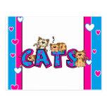 Love Cats - Bright Blue and Fuschi Postcard