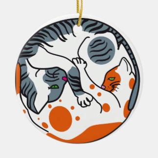 Love cats ceramic ornament